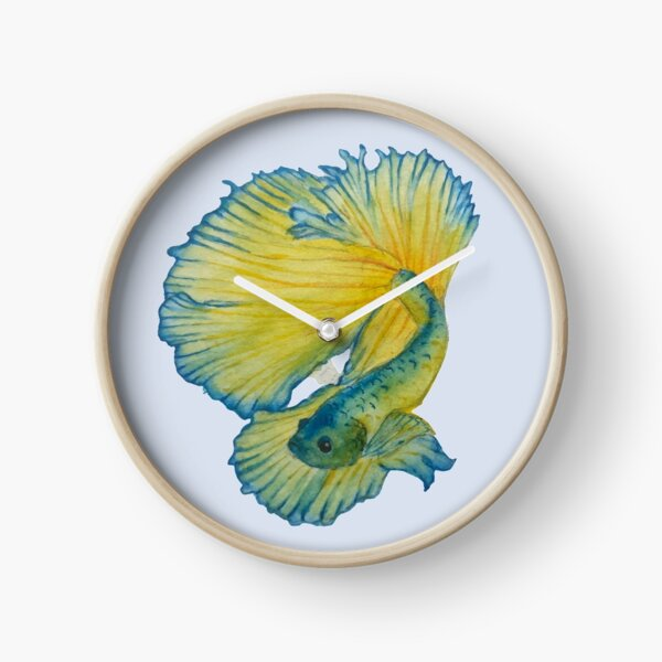 Yellow and Blue Betta fish Clock
