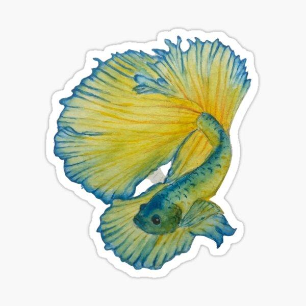 Yellow and Blue Betta fish Sticker