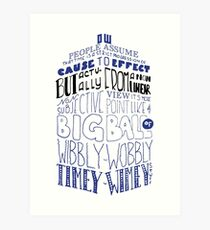 Doctor Who Timey Wimey Tardis Lettering Art Print