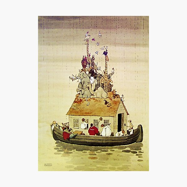 """Noah's Arc"" by W Heath Robinson Photographic Print"