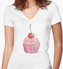 Fancy Pink Cupcake  Women's Fitted V-Neck T-Shirt