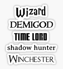 Fandoms: Wizard, Demigod, Time Lord, Shadow Hunter, Winchester Sticker