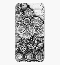 Gorgeous Mandala Damask Art in Black and White Ink Illustration on Watercolor Paper iPhone-Hülle & Cover