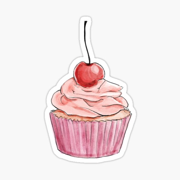Fancy Pink Cupcake  Sticker
