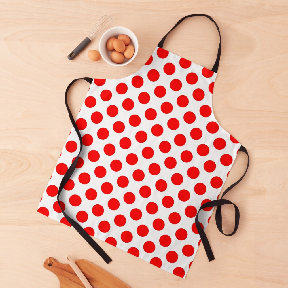White & Red Polka Dots by Orikall Apron