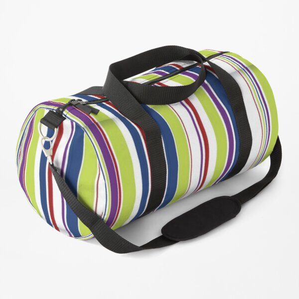Vertical Stripes Navy Blue, Lime Green, Red, White, Purple Duffle Bag