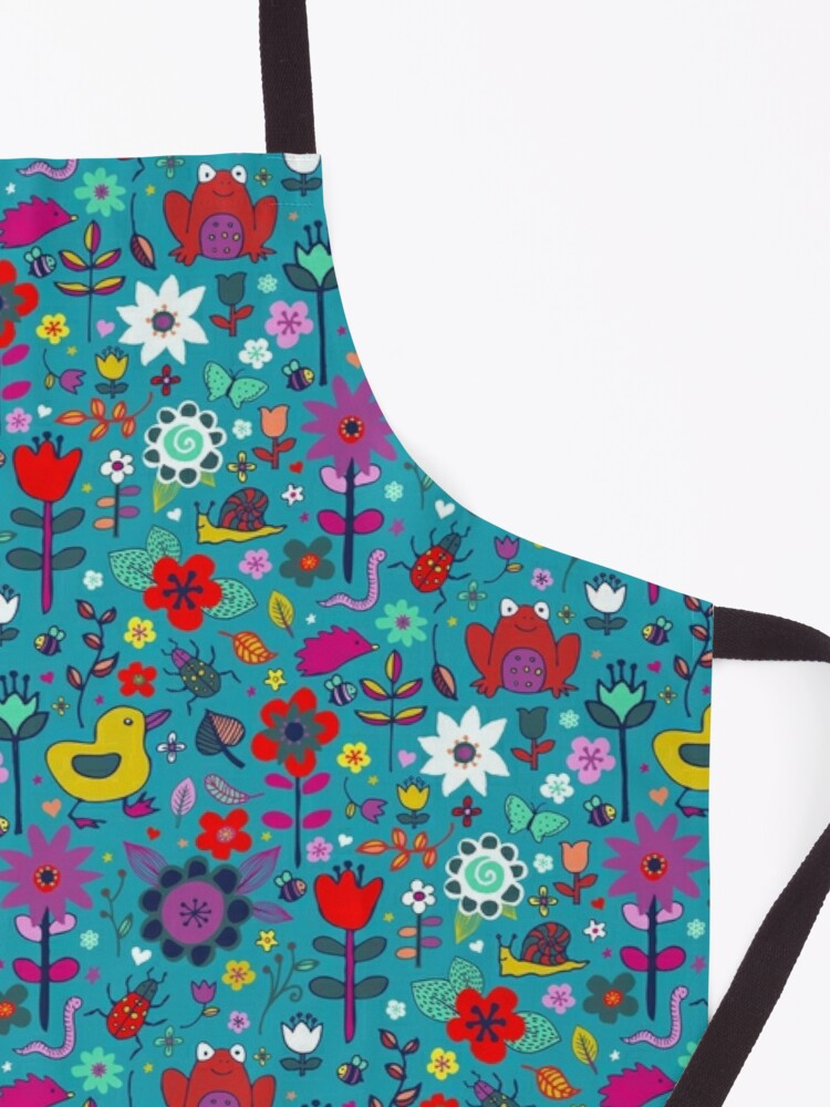 Alternate view of Ducks and Frogs in the Garden - cute floral pattern by Cecca Designs Apron