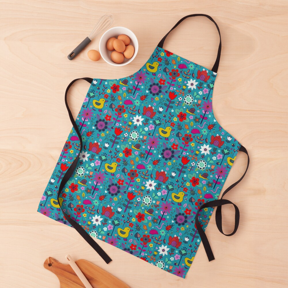 Ducks and Frogs in the Garden - cute floral pattern by Cecca Designs Apron