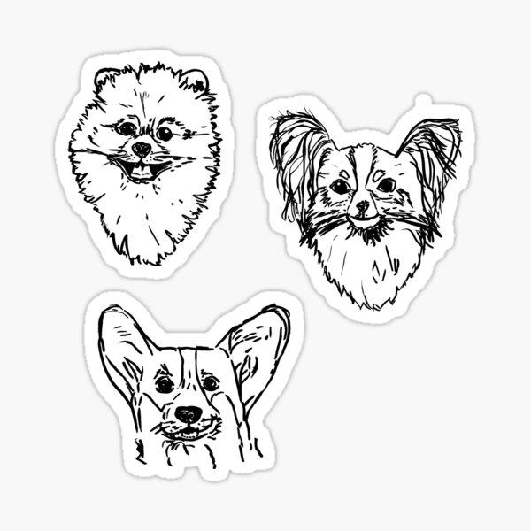 Simple dog design, pomeranian, corgi, papillon, Sticker