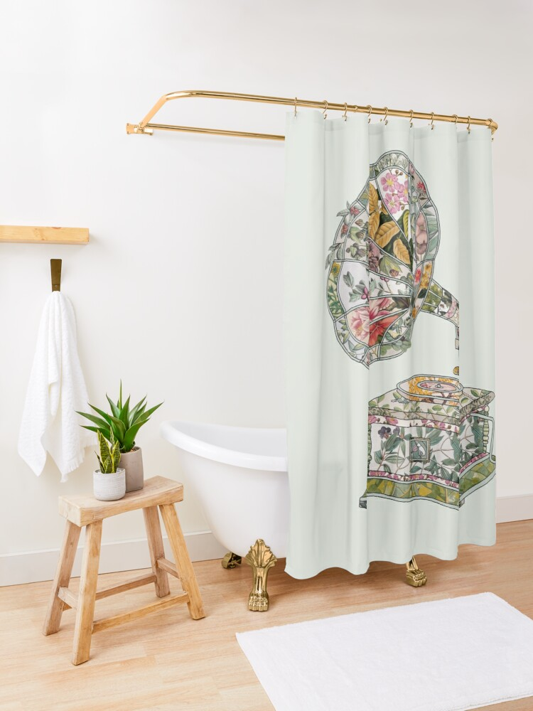 Alternate view of Seeing Sound Vintage Botanical Shower Curtain