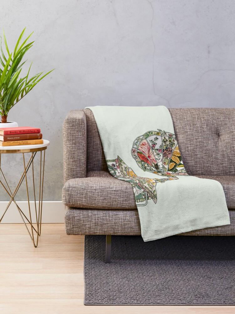 Alternate view of Seeing Sound Vintage Botanical Throw Blanket
