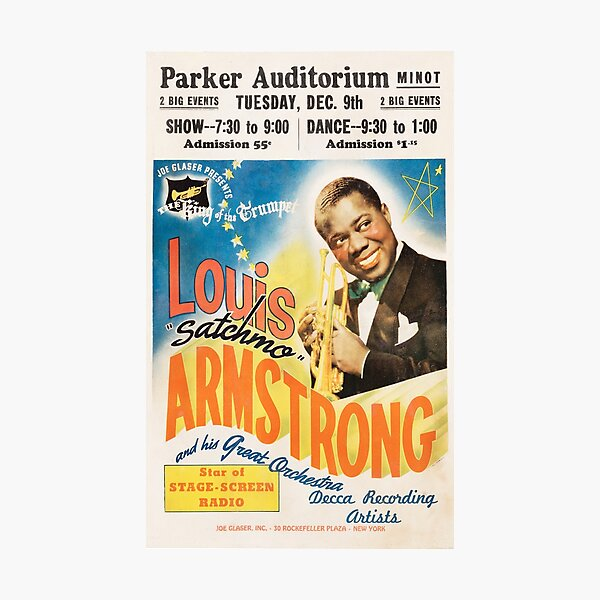 Louis Armstrong - vintage concert poster Photographic Print