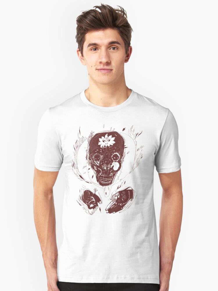 skull on fire Unisex T-Shirt Front