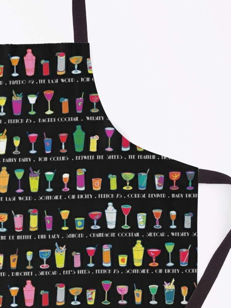 Alternate view of Line em Up! - Prohibition Cocktails pattern on black by Cecca Designs Apron