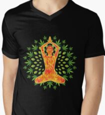 Young woman practicing meditation 8 Mens V-Neck T-Shirt