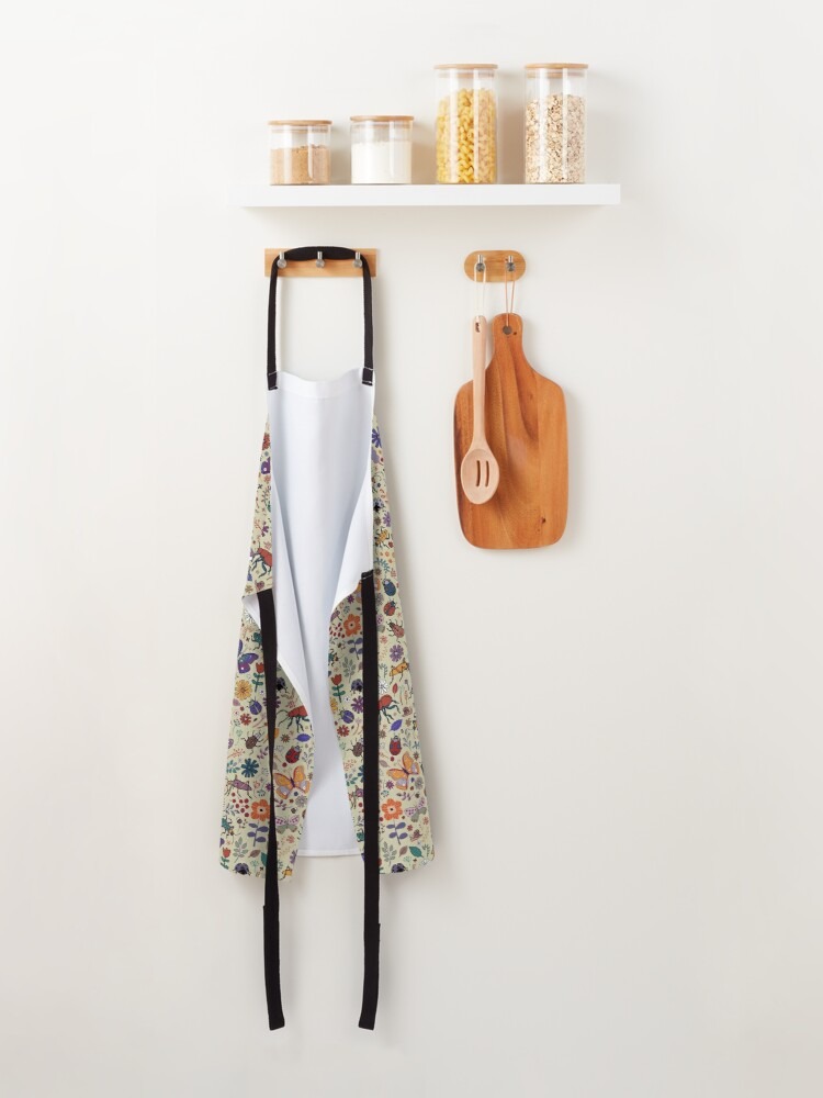 Alternate view of Butterflies, Beetles and blooms - taupe - pretty floral pattern by Cecca Designs Apron