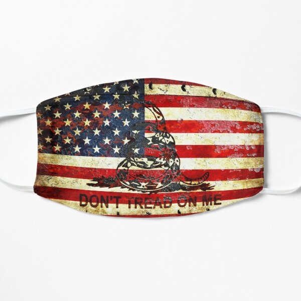 American Flag And Viper On Rusted Metal Door - Don't Tread On Me Mask