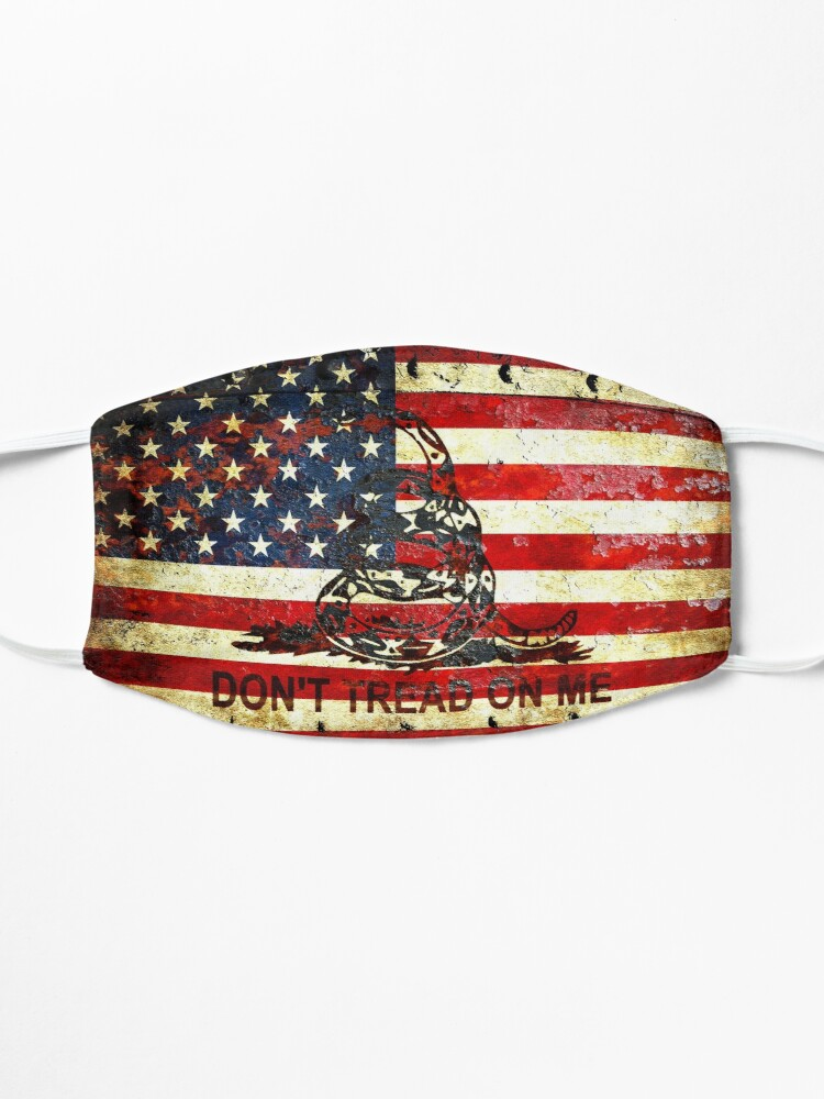 Alternate view of American Flag And Viper On Rusted Metal Door - Don't Tread On Me Mask