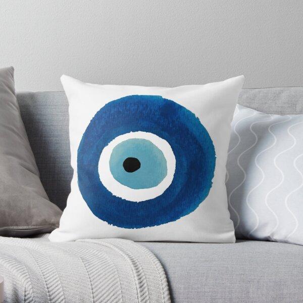Watercolor Evil Eye (Nazar) Painting – Best Seller Throw Pillow