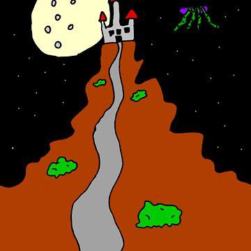 Castle Path at Night by llamafist
