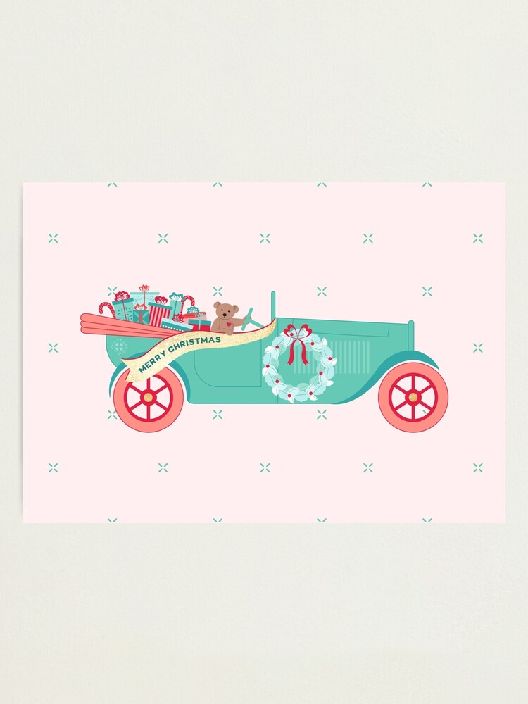 Alternate view of Christmas Teddy Car Photographic Print