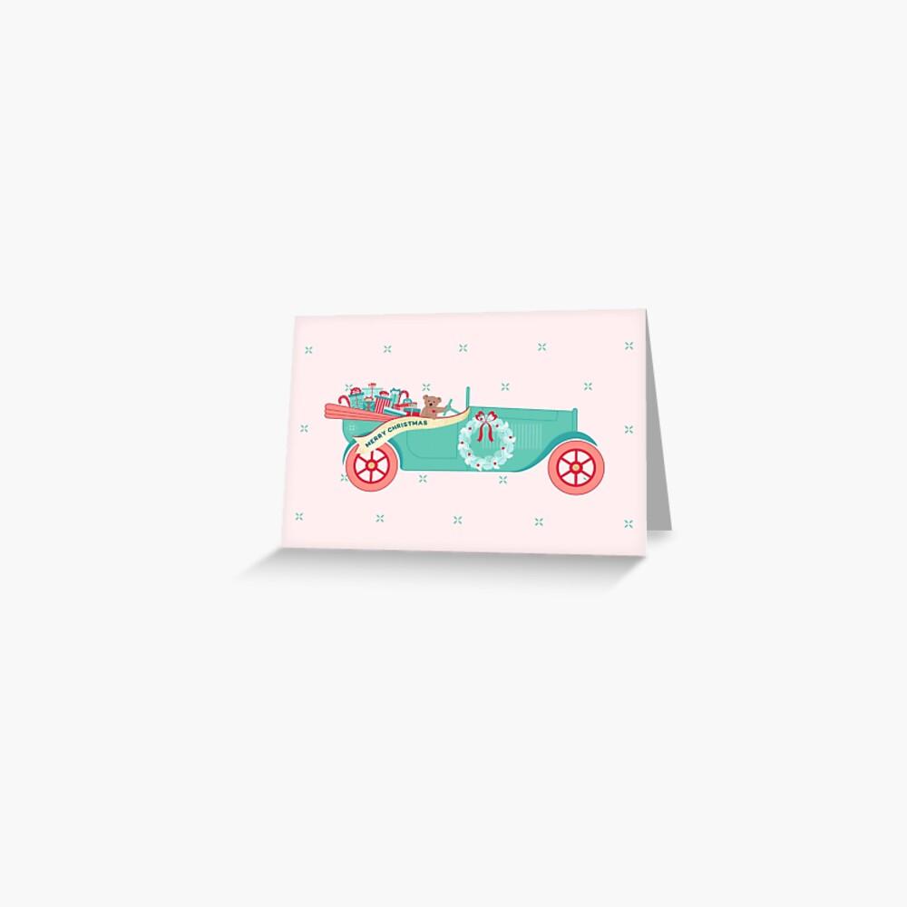 Christmas Teddy Car Greeting Card