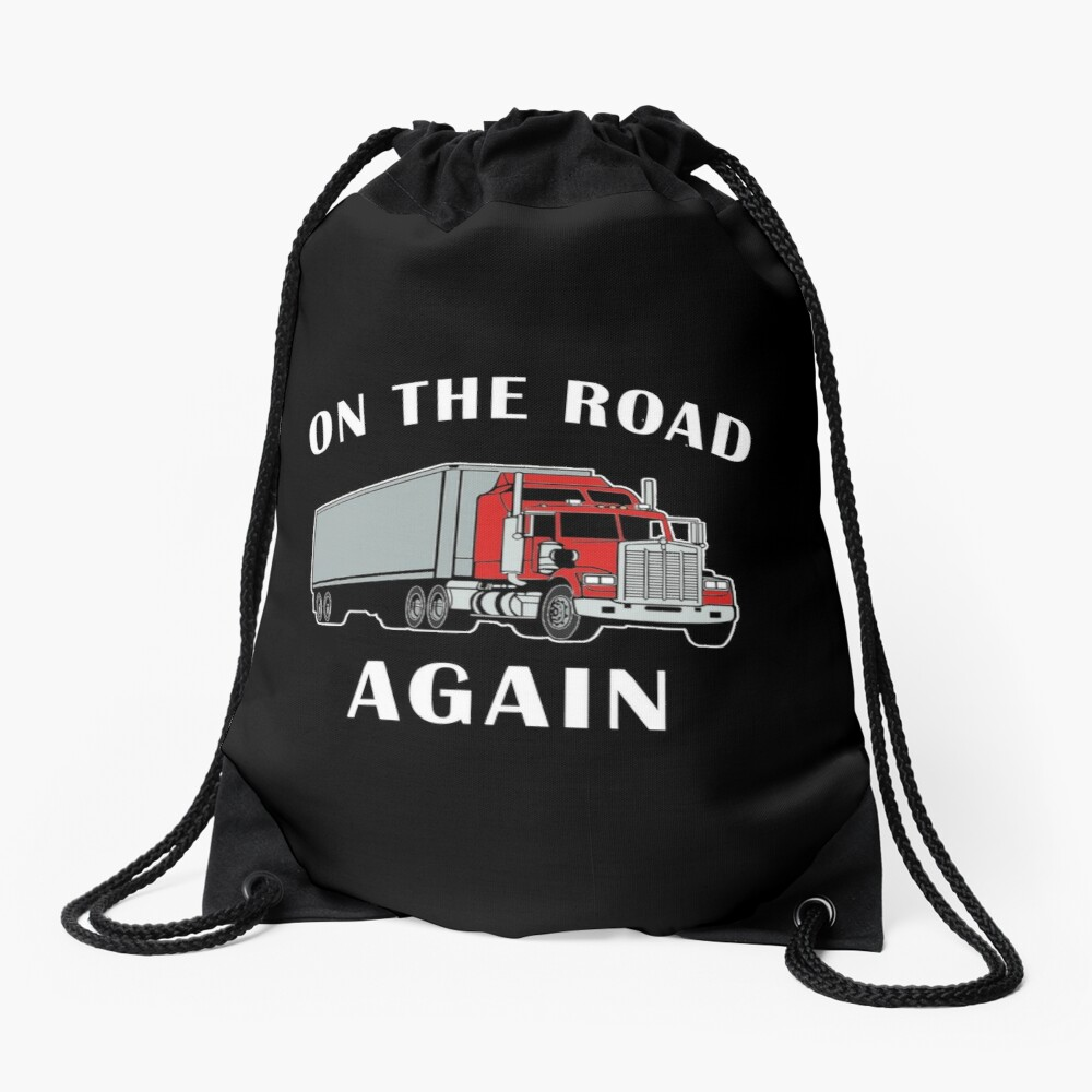 Trucker, On the Road Again, Big Rig Semi 18 Wheeler. Drawstring Bag