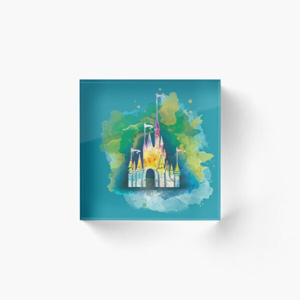Watercolor Princess Castle Acrylic Block