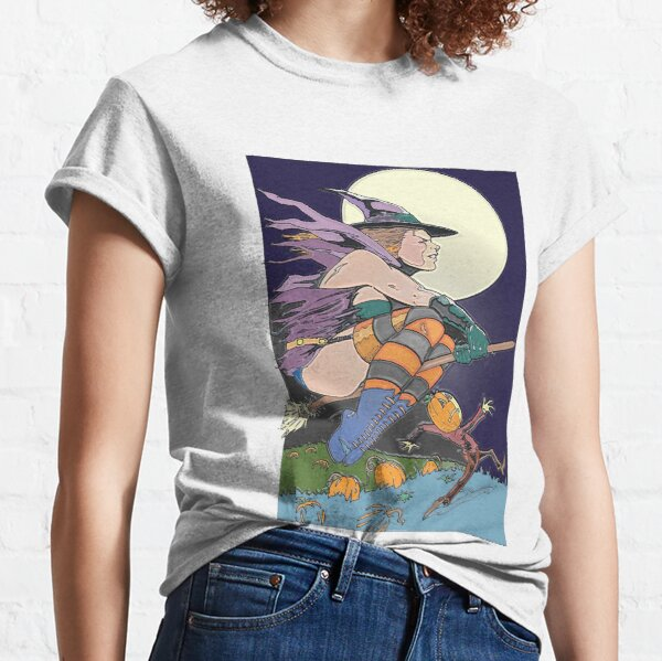 Witch Flying Across the Moon Classic T-Shirt