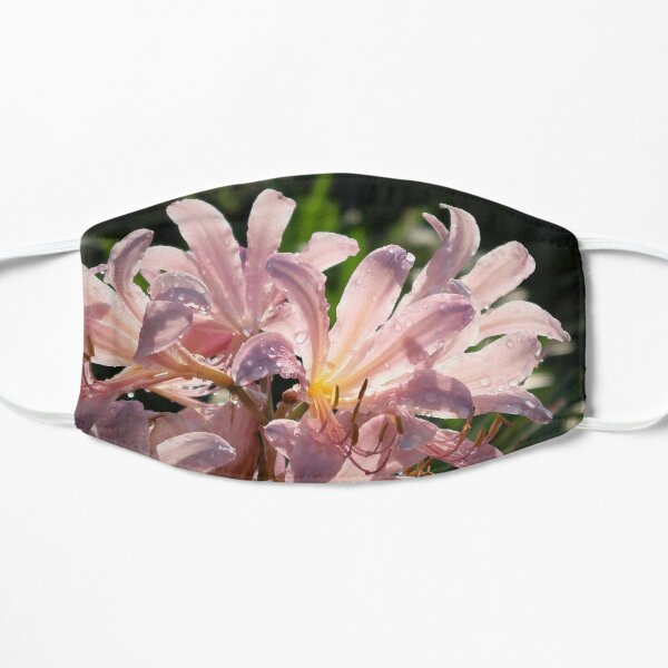 Pink Lilies with Sparkly Dew  Flat Mask