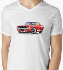 Ford Mustang (1967) Red (White Stripes) Men's V-Neck T-Shirt