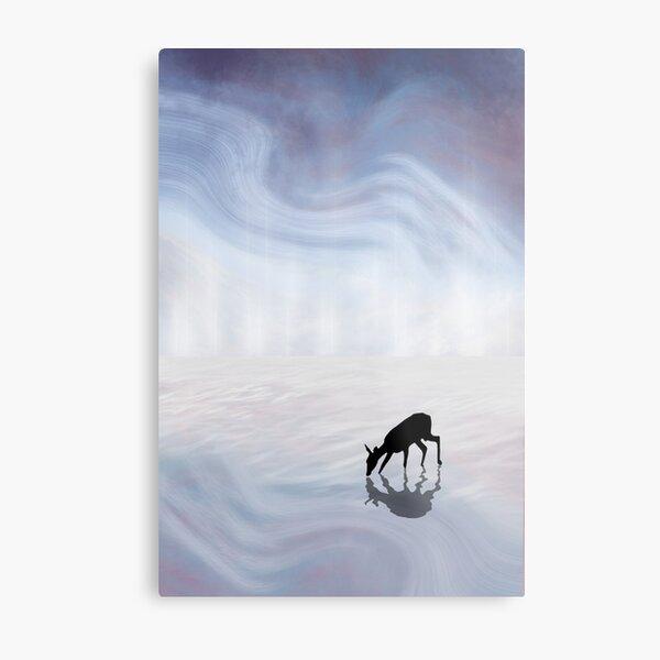 Deer in the Mist Metal Print