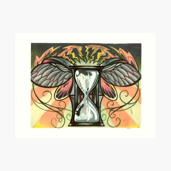 time flies, beetle winged hourglass tattoo design Art Print
