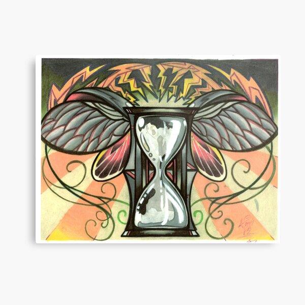 time flies, beetle winged hourglass tattoo design Metal Print
