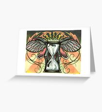 time flies, beetle winged hourglass tattoo design Greeting Card