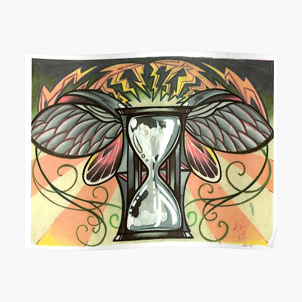 time flies, beetle winged hourglass tattoo design Poster