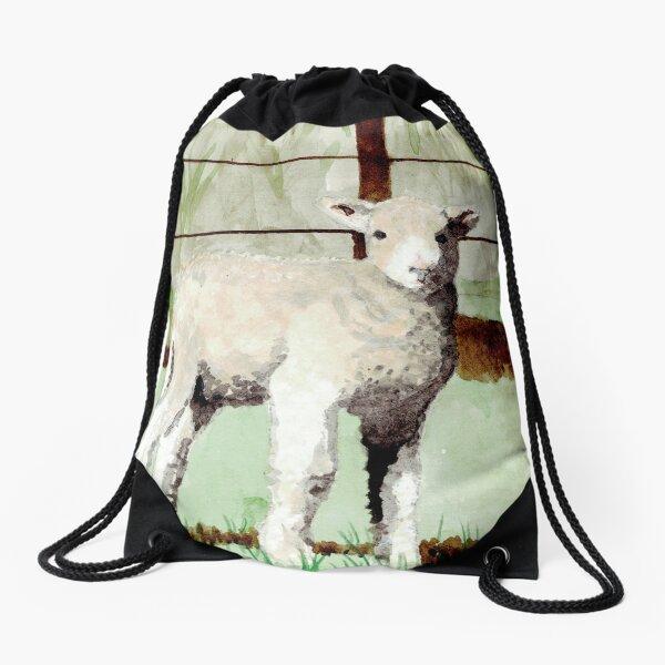 Lamb Illustration Drawstring Bag