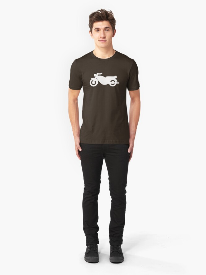 Alternate view of Motorcycle Icon - White Slim Fit T-Shirt