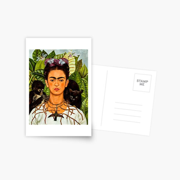 Self-Portrait with Thorn Necklace and Hummingbird Postcard