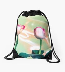 Pink Tulips Painted with Light Drawstring Bag