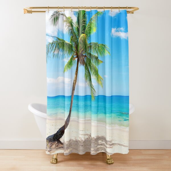 Palm Tree on The Beach Shower Curtain