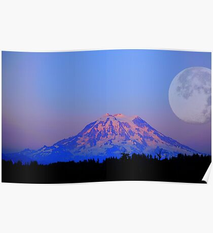 The Super Moon and Mt. Rainier Poster