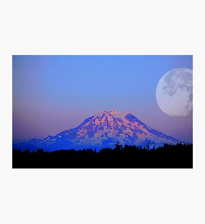 The Super Moon and Mt. Rainier Photographic Print