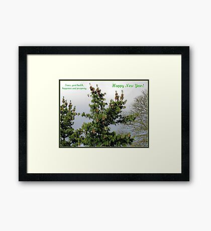 Happy New Year - Pine Cones Greeting Card Gerahmter Kunstdruck