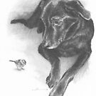 Dog and bird drawing by Mike Theuer