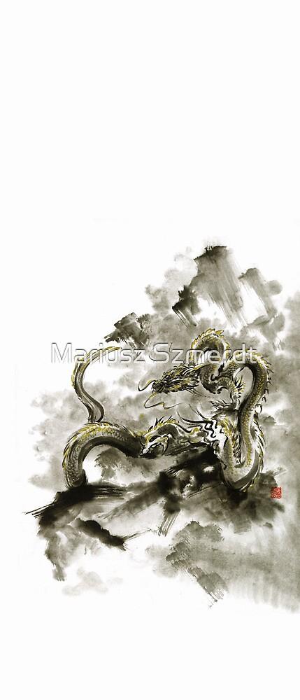 Mountain dragon sumi-e ink painting dragon art by Mariusz Szmerdt