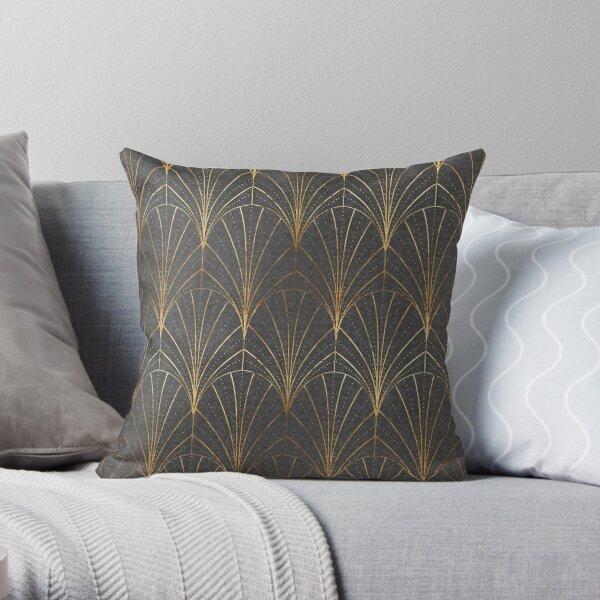 Art Deco Waterfalls // Grey & Gold Throw Pillow