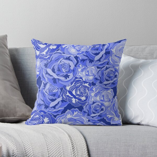 Blue rose floral pillows