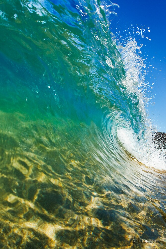 Makena Wave Breaking Along Shore by printscapes