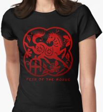 Year of The Horse Paper Cut Design Women's Fitted T-Shirt